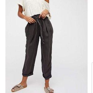 Free people tie paper bag waist linen pants
